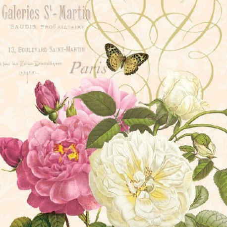 SERVILLETAS- Pink and White Roses
