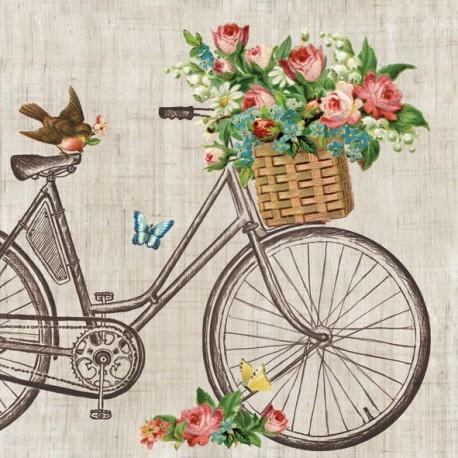 SERVILLETAS- Bicicleta con flores