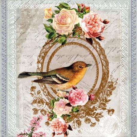 SERVILLETAS-  Camafeo Pájaro