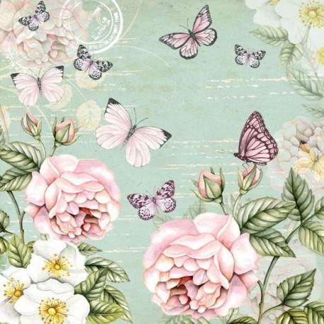 SERVILLETAS-  Mariposas y Rosas