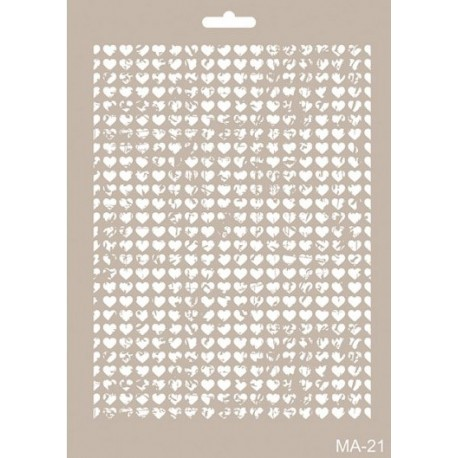 Stencil Mix Media MALLA CORAZONES
