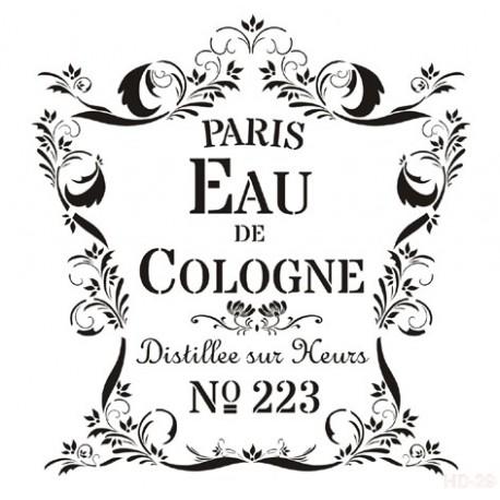 Stencil EAU COLOGNE 45x45cm