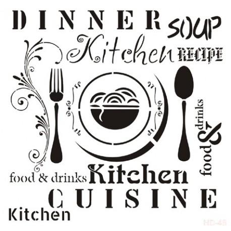 Stencil Kitchen 45x45cm