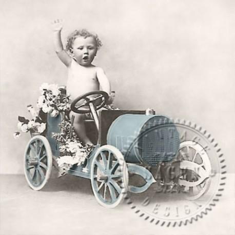 SERVILLETAS- Vintage Boy in Car