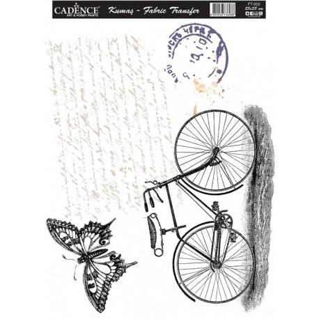 Transfer para TEJIDOS Bici texto y mariposa