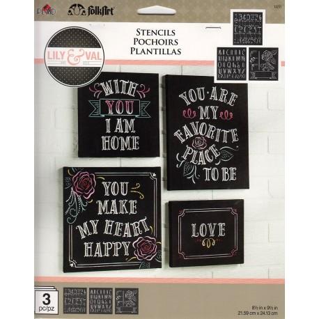3 Stencil Letras BIENVENIDO 1351 de Folkart distribuido por Artesanías Montejo