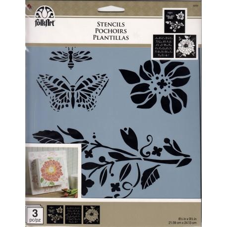 3 Stencil GARDEN 59797 de Folkart distribuida por Artesanías Montejo