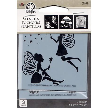3 MINI Stencil HADAS Y HONGOS 60953 de Folkart distribuido por Artesanías Montejo
