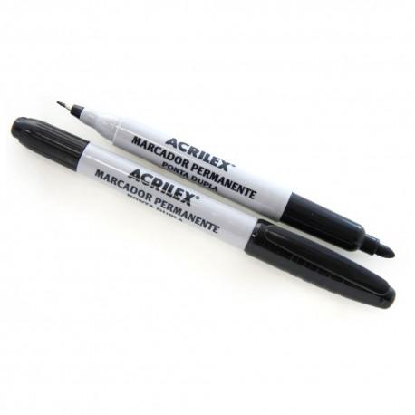 ACRILEX® Rotulador doble punta NEGRO 06212 distribuido por Artesanías Montejo