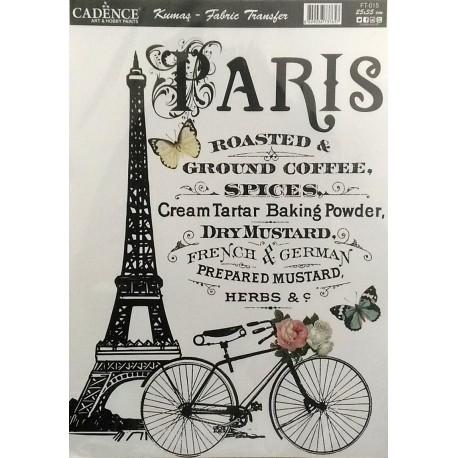 Transfer para TEJIDOS Paris Eiffel Transfers para tela CADENCE de 25x35cm. Distribuidos en España por Artesanías Montejo