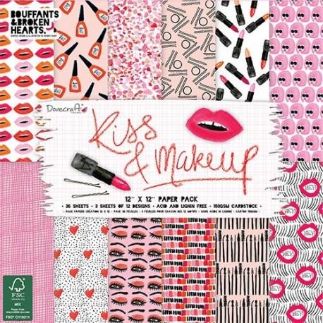 Papeles KISS & MAKEUP 30x30 de Dovecraft para scrapbook distribuido por artesanías Montejo