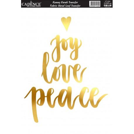 Transfer ORO TEJIDOS 21x30cm Joy Love Peace