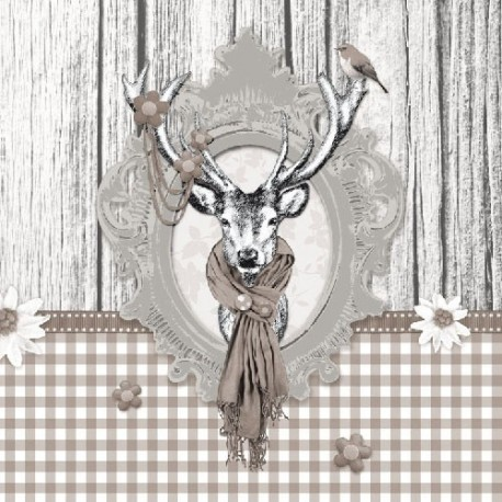 SERVILLETAS- Decorated Deer Taupe