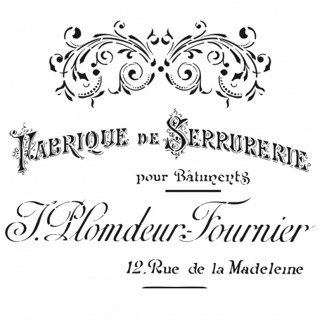 Stencil FABRIQUE DE SERRURERIE 45x45cm