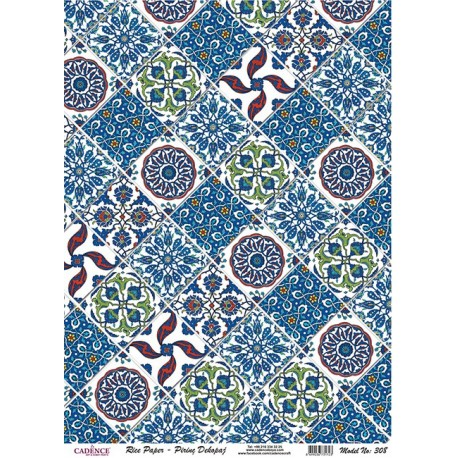 Papel de Arroz MINI AZULEJOS AZULES