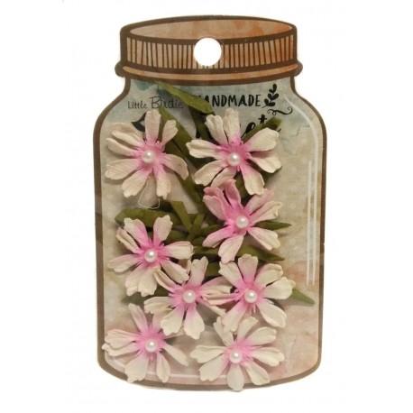 Handmade Florets- FLOR ROSA CON PERLA Y RAMAS flores de papel little birdie distribuidas por Artesanías Montejo