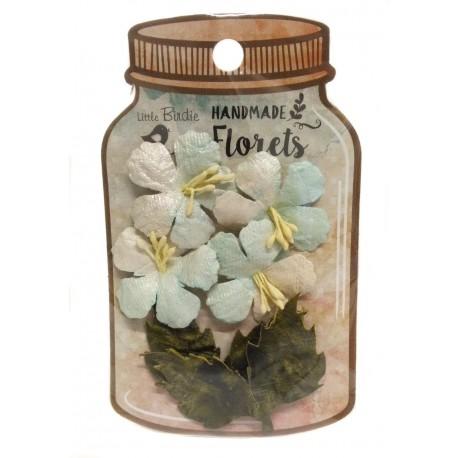Handmade Florets- HIBISCUS AZULES flores de papel little birdie distribuida por artesanías Montejo