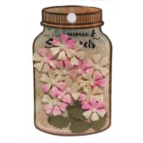 Handmade Florets- FLORES ROSAS HOJAS Y PERLAS flores de papel little birdie distribuidas por Artesanías Montejo