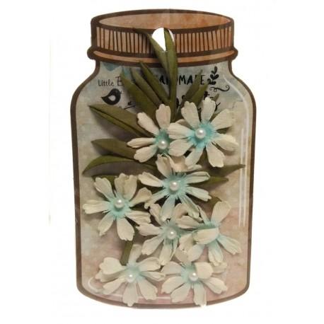 Handmade Florets- FLOR AZUL CON PERLA Y RAMAS