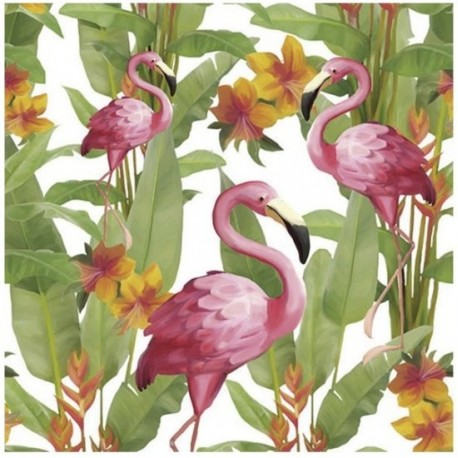 SERVILLETAS- Flamingo´s White