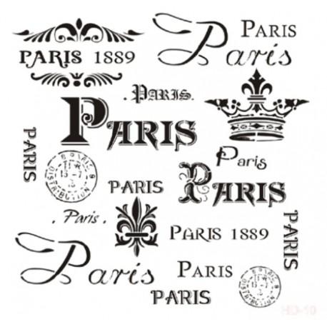 Stencil PARIS 25x25cm