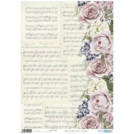Papel de Arroz  NOTES AND FLOWERS - PFY