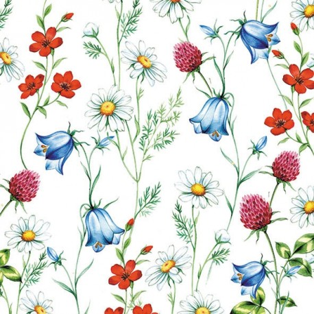 SERVILLETAS- Mixed Wild Flowers White