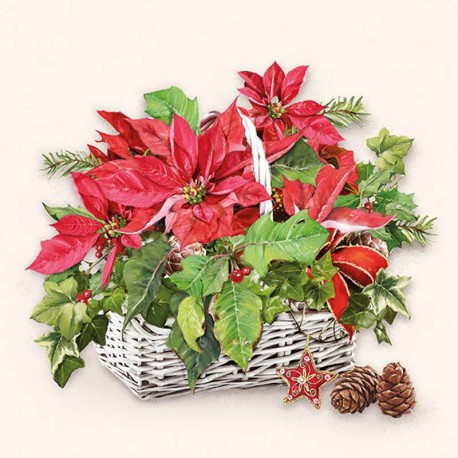 SERVILLETAS- Poinsettia In Basket