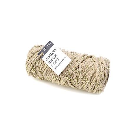 Cordón algodón con brillo oro 25m
