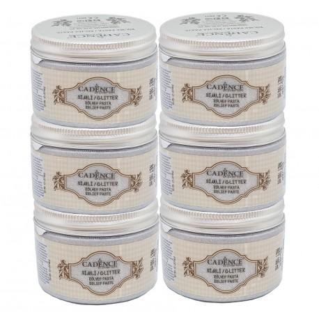 Lote 6 Pasta Relieve Glitter Plata CADENCE