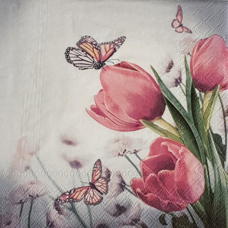 SERVILLETAS- Butterfly & Tulips