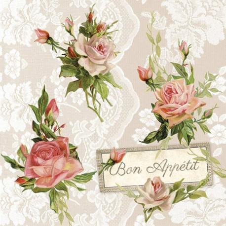 SERVILLETAS- Roses On Lace
