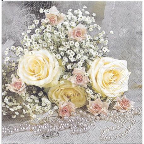 SERVILLETAS-  Rose And Pearls