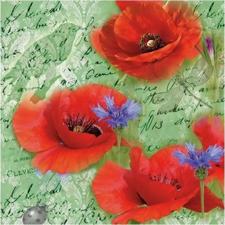 SERVILLETAS- Painted Poppies Green