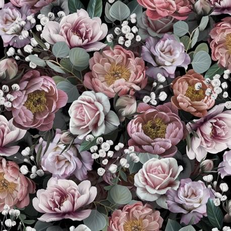 SERVILLETAS- Vintage Flowers Black