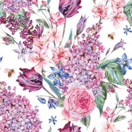 SERVILLETAS- Flower Composition White