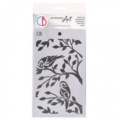 """Texture Stencil 5""""x8"""" Two Birds"""