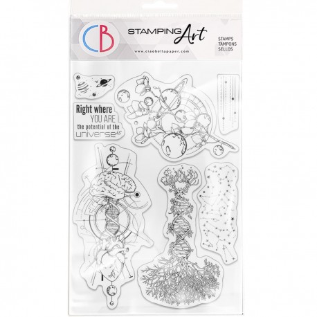 """Clear Stamp Set 6""""x8"""" Universe is heart and mind"""