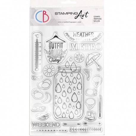 """Clear Stamp Set 6""""x8"""" BuJo Weather"""