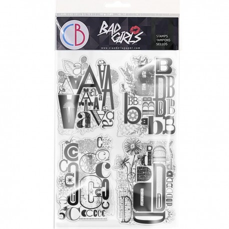 """Clear Stamp Set 6""""x8"""" Design Letters ABCD"""