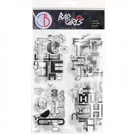 "Clear Stamp Set 6""x8"" Design Letters EFGH"