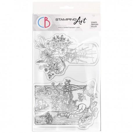 """Clear Stamp Set 4""""x6"""" Fraises et fleurs savages"""