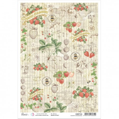 Rice Paper A4 Country strawberries