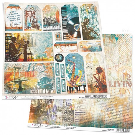"""Blue Note Cards & Tags Paper Sheet 12""""x12"""""""