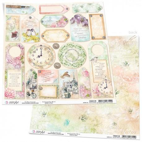 "Notre Vie Tags & Frames Paper Sheet 12""x12"""