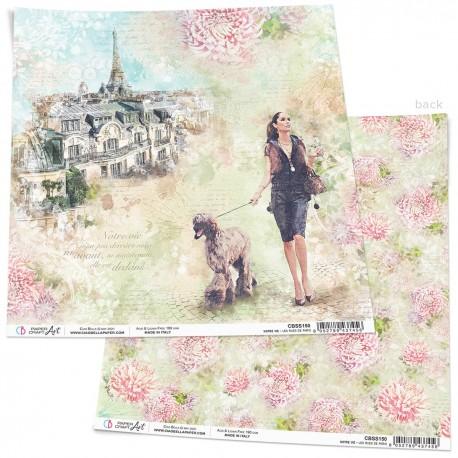 """Les rues de Paris Paper Sheet 12""""x12"""""""