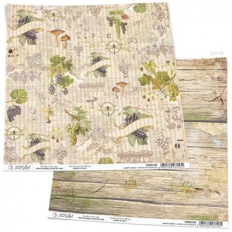 "Grapes and mushrooms Paper Sheet 12""x12"""