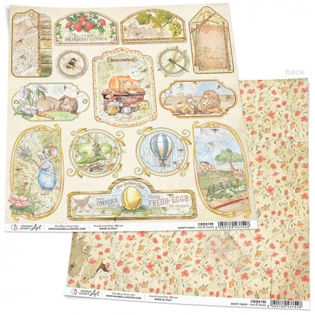 """Aesop's Fables Tags & Frames Paper Sheet 12""""x12"""""""