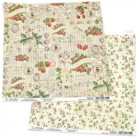 "Strawberries Paper Sheet 12""x12"""