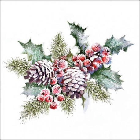 SERVILLETA NAPKIN 33 HOLLY AND BERRIES